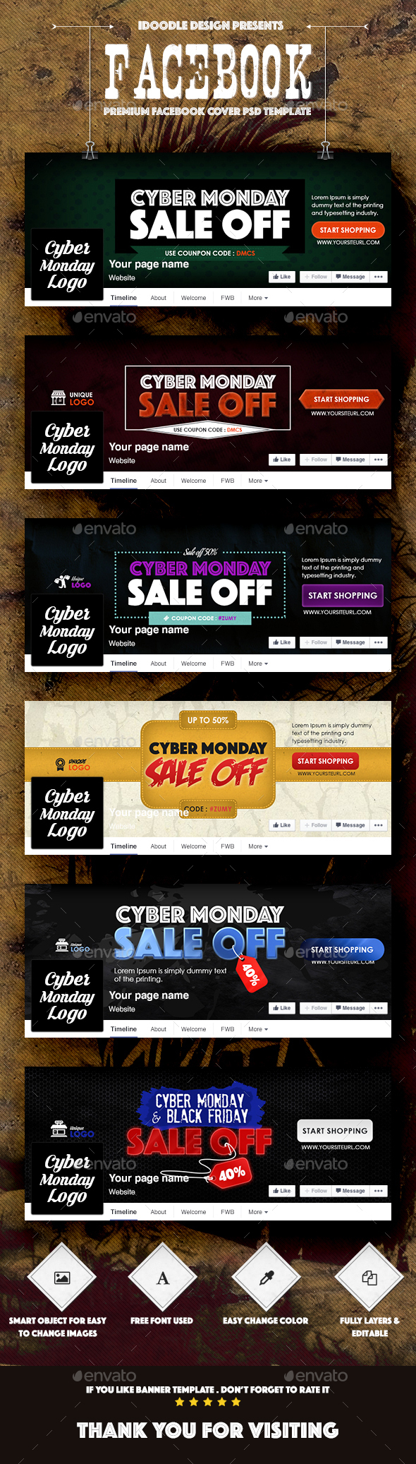 Cyber Monday Covers Facebook - Banners & Ads Web Elements