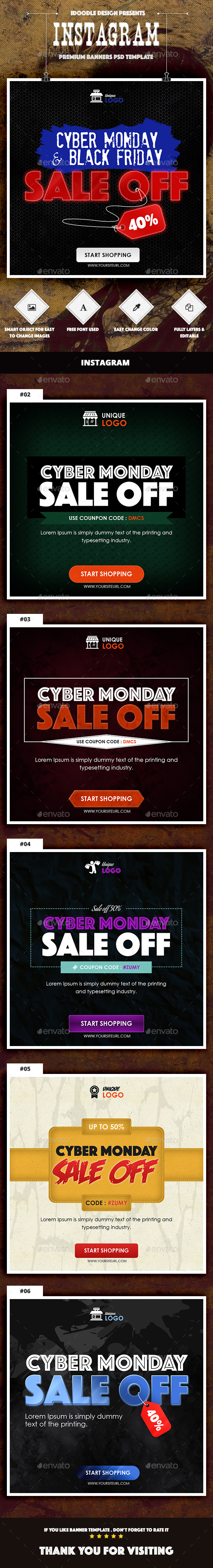 Cyber Monday Banners Instagram - Social Media Web Elements