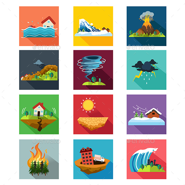 Natural Disaster Icons - Nature Conceptual
