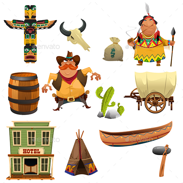 Cowboys and Indians Icons - Objects Vectors