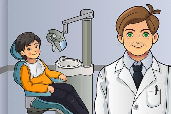 Kid in the Dentist Office - Health/Medicine Conceptual