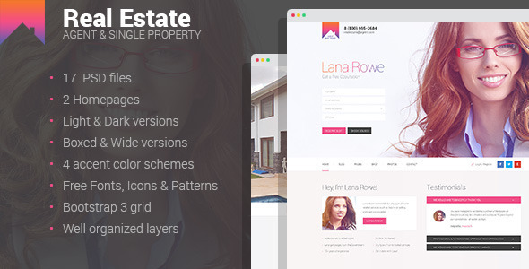 Real Estate – Agent & Single Property PSD template