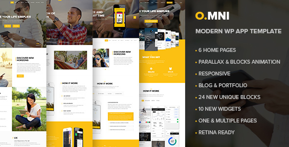 Omni | Stylish Powerful One Page and Multipage App and Software WP Theme - Software Technology