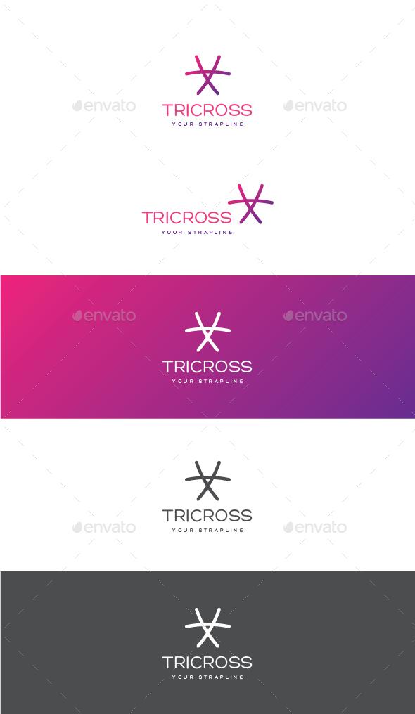 Tri Cross Logo - Vector Abstract