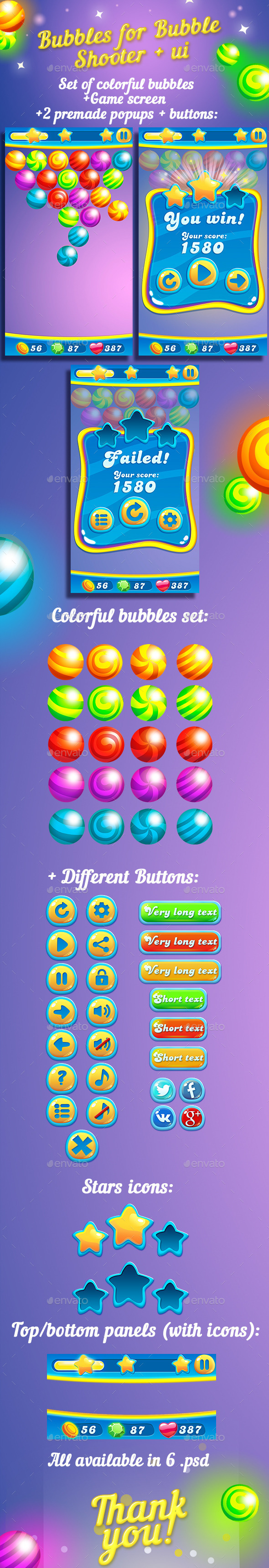 Bubbles For Bubble Shooter Game + UI kit - Game Kits Game Assets