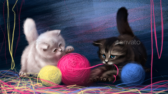 Drawn Cute Kittens - Animals Illustrations