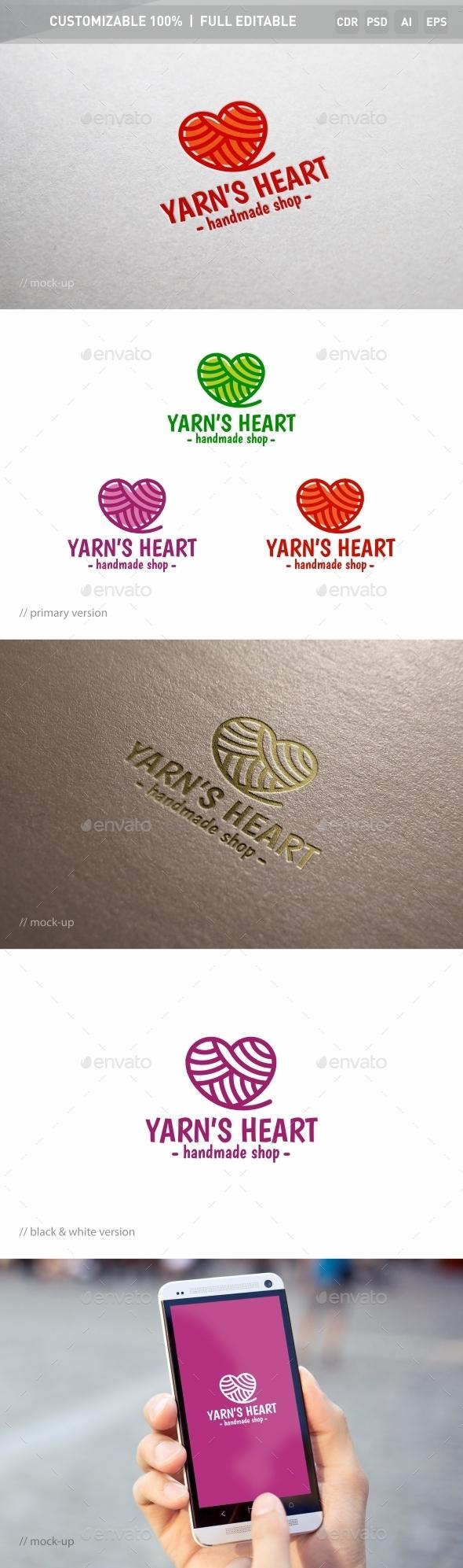 Yarn's Heart Logo Template - Objects Logo Templates