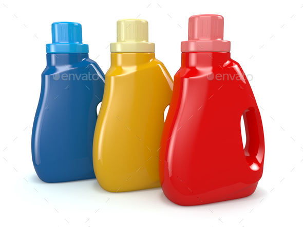 Plastic detergent bottles. Cleaning products. - Stock Photo - Images
