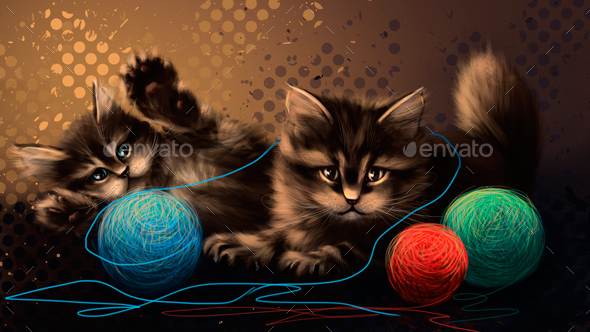 Drawing Kittens Playing - Animals Illustrations