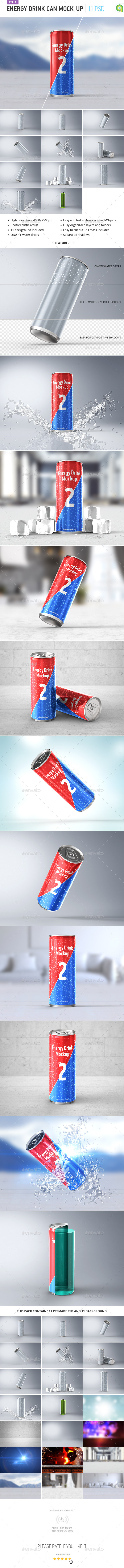 Energy Drink Can Mock-up vol.2 - Food and Drink Packaging