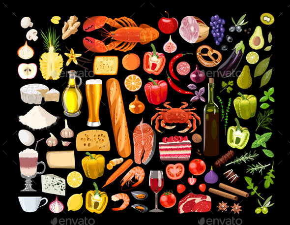 Set of Food Items - Food Objects