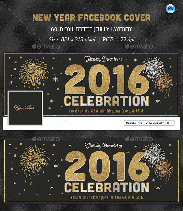 New Year Celebration Facebook Cover - Facebook Timeline Covers Social Media