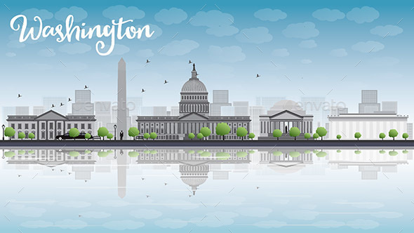 Washington DC City Skyline - Buildings Objects