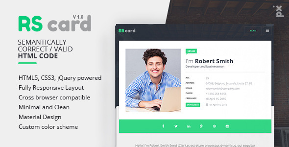 RSCard - Responsive Professional Resume Template ( vCard )