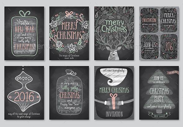 Set of Christmas Emblems - Christmas Seasons/Holidays