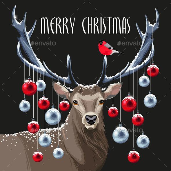 Grey Christmas Deer and Christmas Tree Toys - Christmas Seasons/Holidays