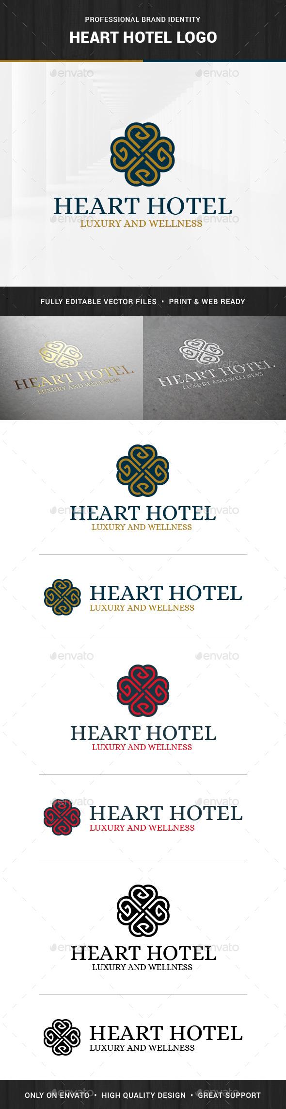 Heart Hotel Logo Template - Symbols Logo Templates