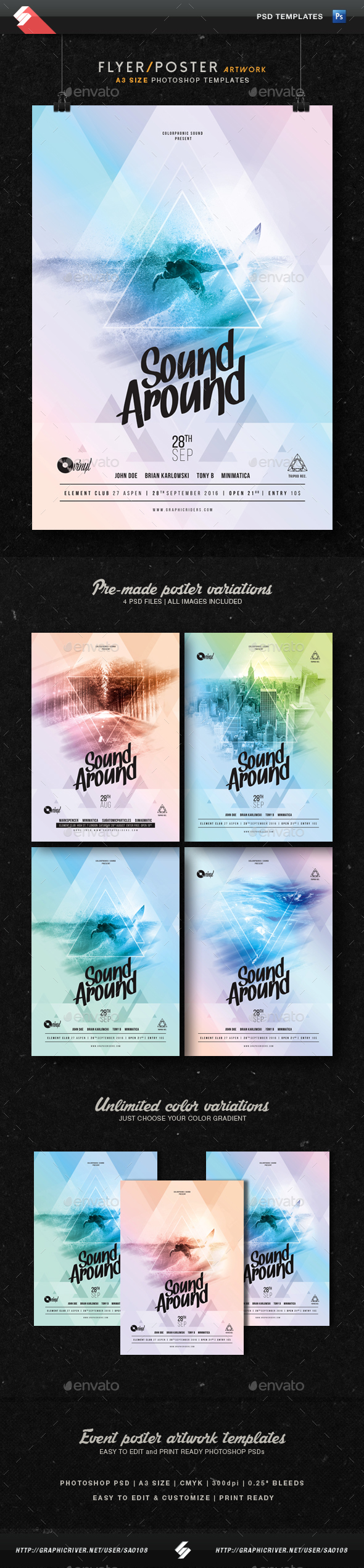 Sound Around - Party Flyer Artwork Template A3 - Clubs & Parties Events