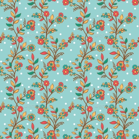 Retro Romantic Floral Background with Flowers - Backgrounds Decorative