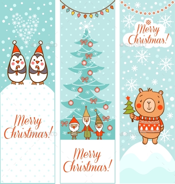 Set of Vertical Christmas Banners - Christmas Seasons/Holidays