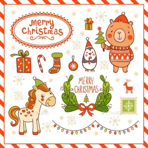 Set of New Year and Christmas Cartoon Elements - Christmas Seasons/Holidays