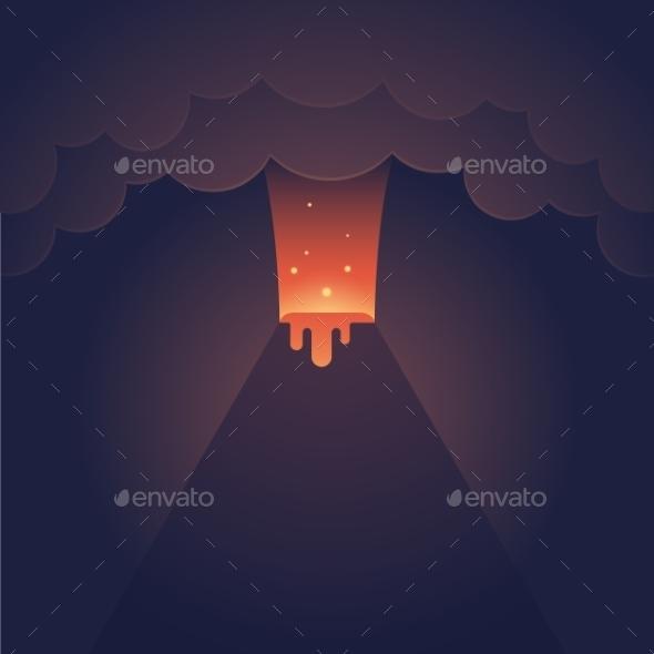 Erupting Volcano Illustration - Landscapes Nature