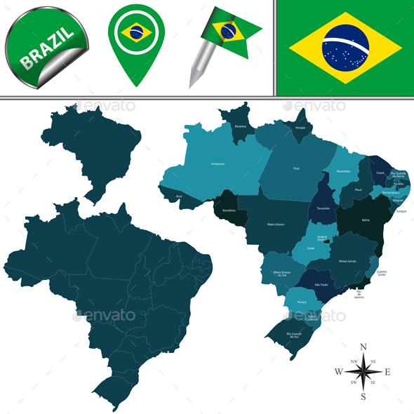 Map of Brazil - Travel Conceptual