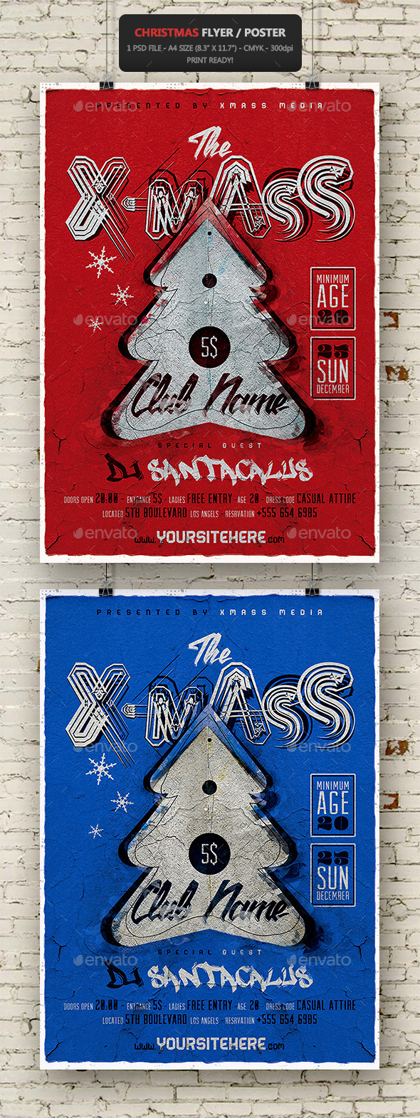 Christmas Vintage Flyer - Poster - Holidays Events