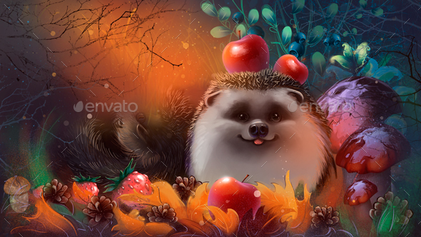 Hedgehogs in the Forest - Animals Illustrations