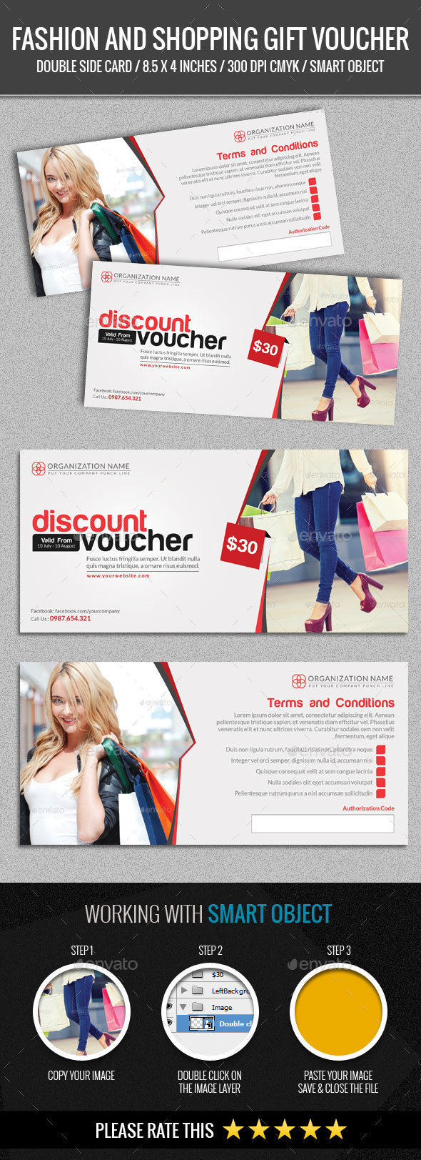 Fashion and Shopping Gift Voucher - Loyalty Cards Cards & Invites