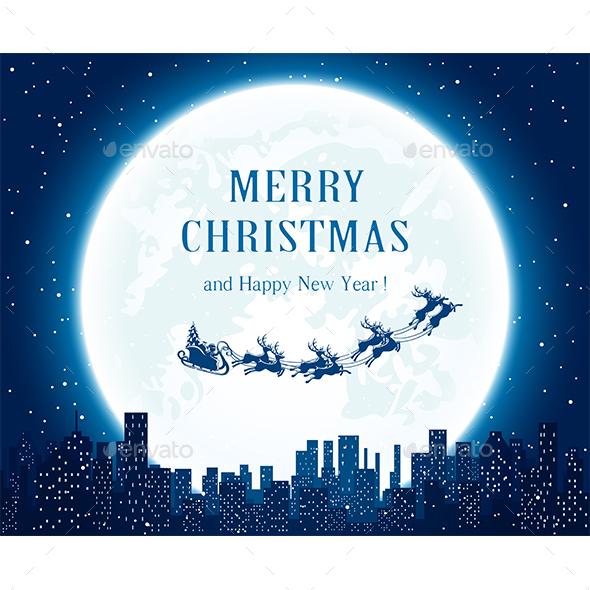 Santa Flies Over the City - Christmas Seasons/Holidays