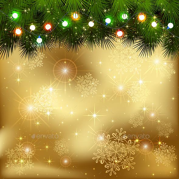 Christmas Garland on Golden Background - Christmas Seasons/Holidays