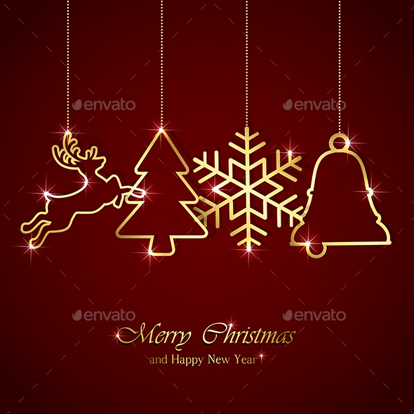 Christmas Elements on Red Background - Christmas Seasons/Holidays
