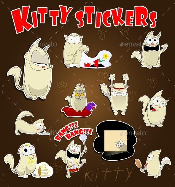 Cat Stickers Set - Animals Characters