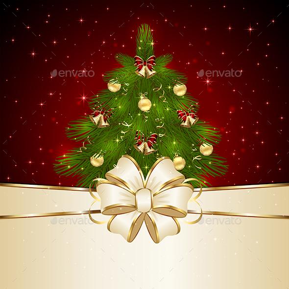Christmas Tree with Bow - Christmas Seasons/Holidays