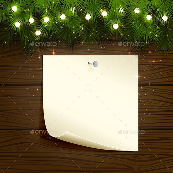 Light Bulbs and Paper on Wooden Background - Christmas Seasons/Holidays