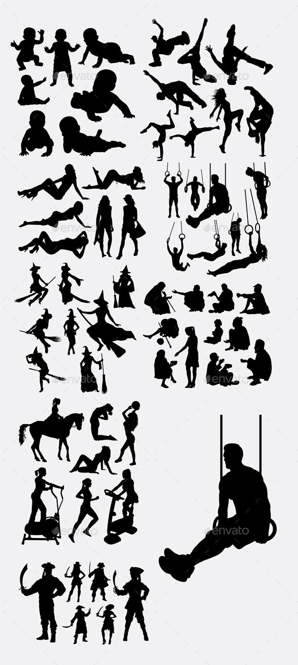 People Pose and Training Silhouettes - People Characters