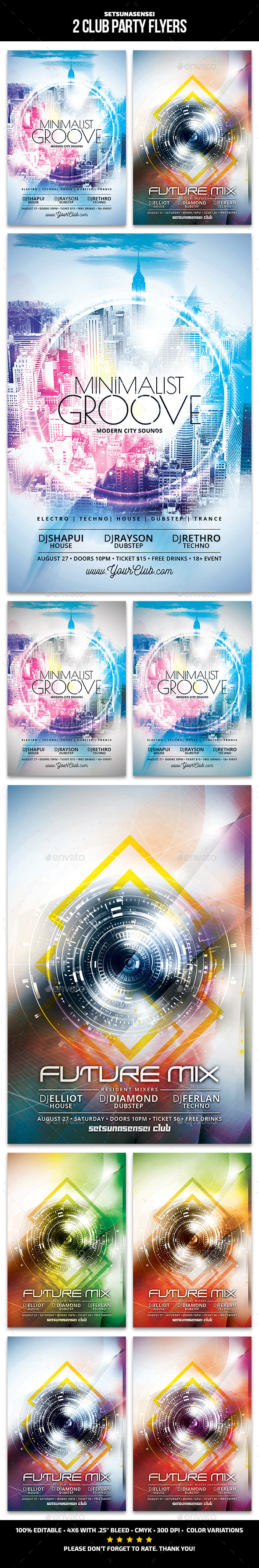 2 Club Party Flyers - Clubs & Parties Events