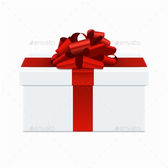 Modern Red Bow with White Gift Box - Christmas Seasons/Holidays