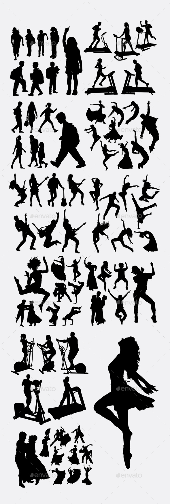 People Exercise Silhouettes - People Characters
