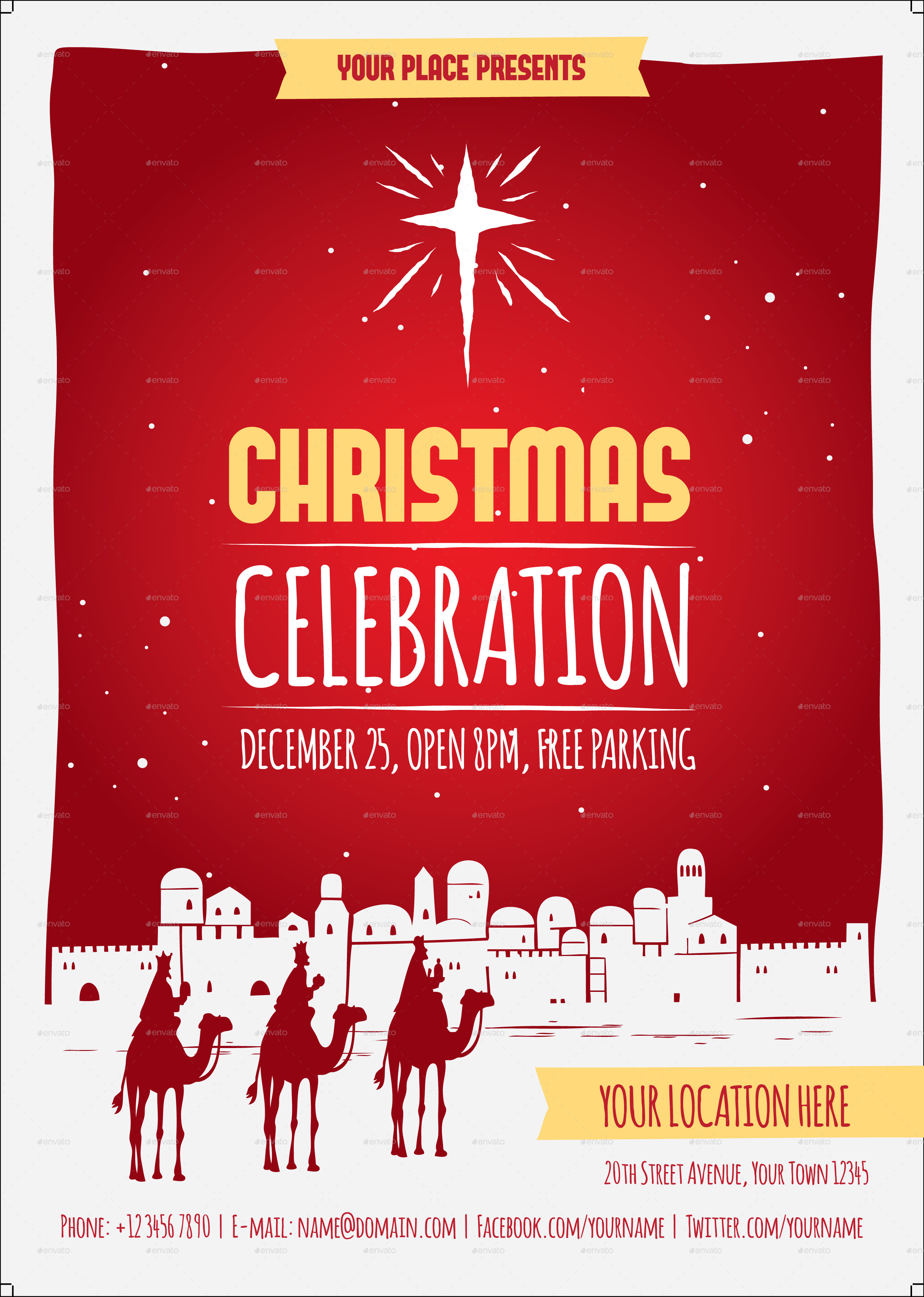 christmas celebration flyer template by me55enjah