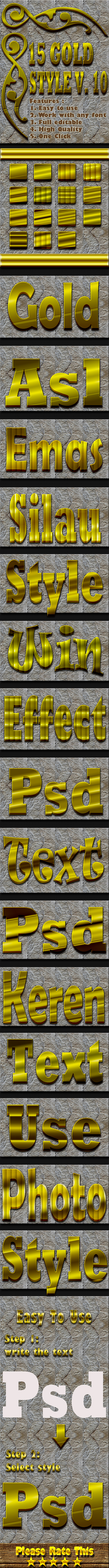 15 Gold Text Effect Style Vol 10 - Styles Photoshop