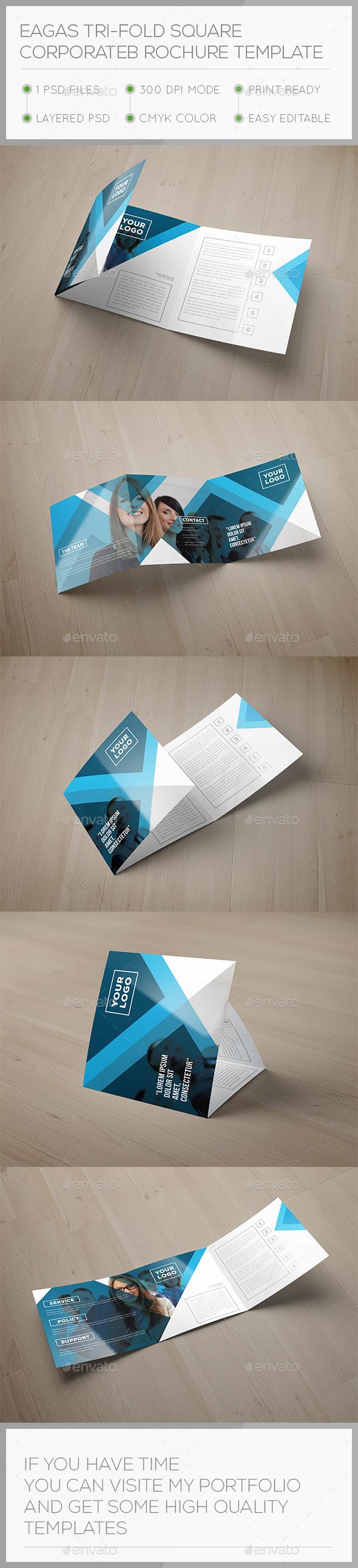Eagas Tri-fold Square Brochure Template - Brochures Print Templates