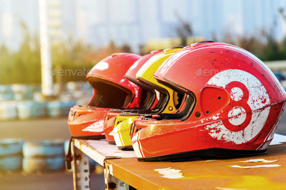 group of helmet for karting in race - Stock Photo - Images