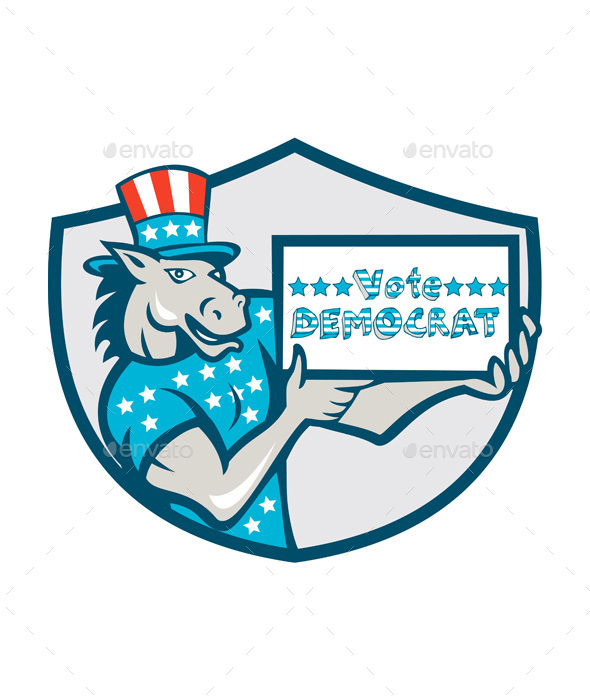 Vote Democrat Donkey Mascot Shield Cartoon - Animals Characters