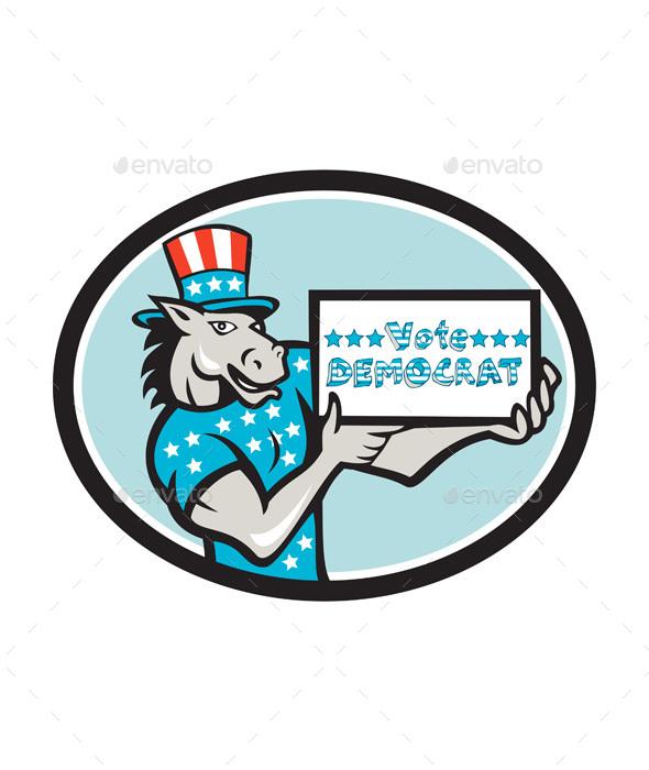 Vote Democrat Donkey Mascot Oval Cartoon - Animals Characters