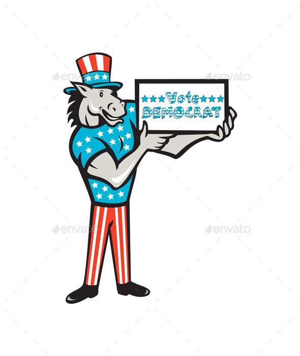 Vote Democrat Donkey Mascot Standing Cartoon - Animals Characters
