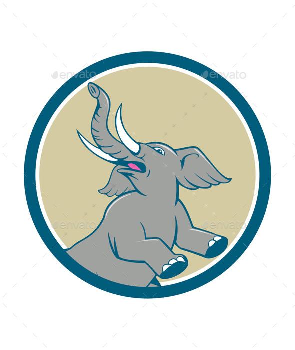 Elephant Prancing Circle Cartoon - Animals Characters