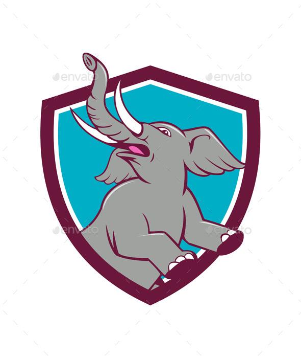 Elephant Prancing Crest Cartoon - Animals Characters