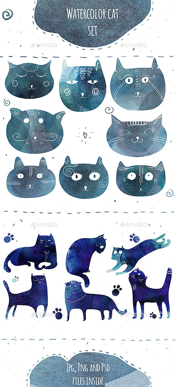 Fun Watercolor Cats Silhouettes - Animals Illustrations